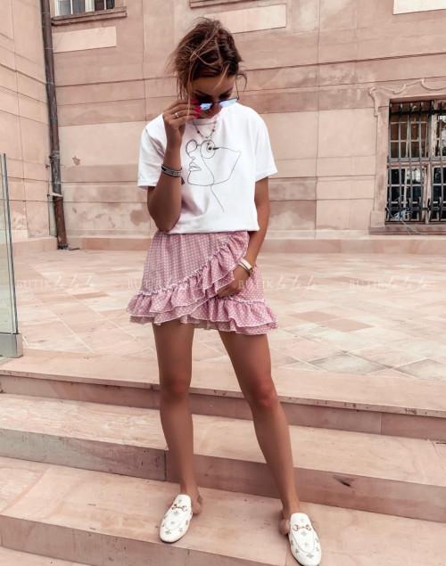 spódniczka letnia mini w białe groszki z falbankami pudrowy róż Naomi