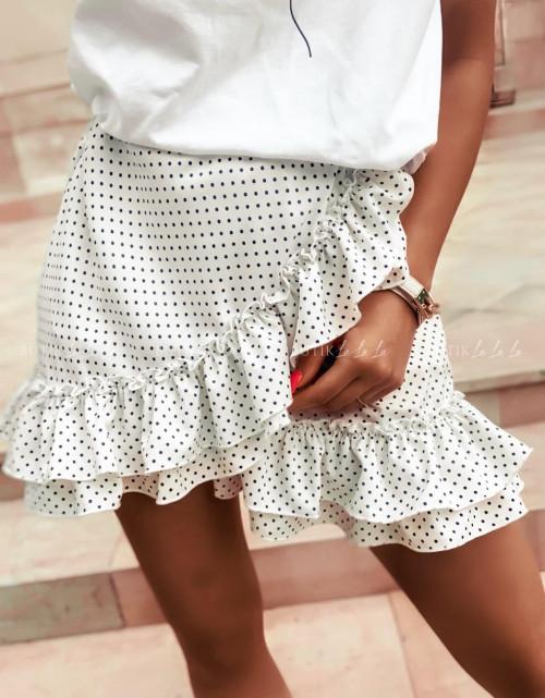 spódniczka letnia mini w czarne groszki z falbankami kremowa Naomi
