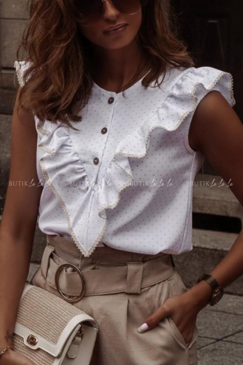 Beżowa bluzeczka w kropeczki Lala