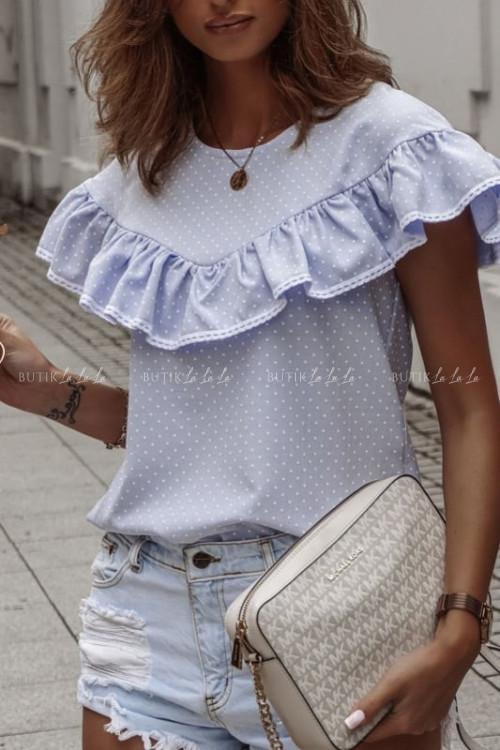Bluzka Naomi z falbaną-błękitna