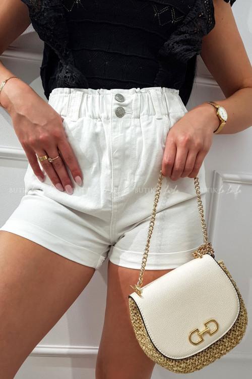 Białe letnie szorty z guziczkami Zaiti