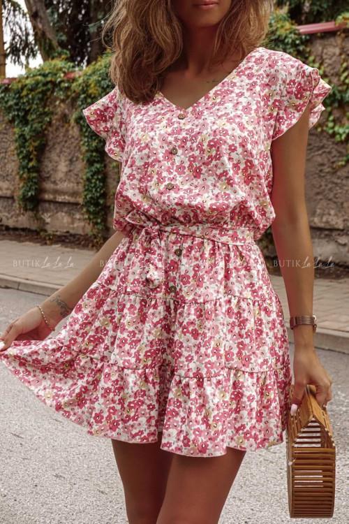 Sukienka Różowa w kwiatki Mario
