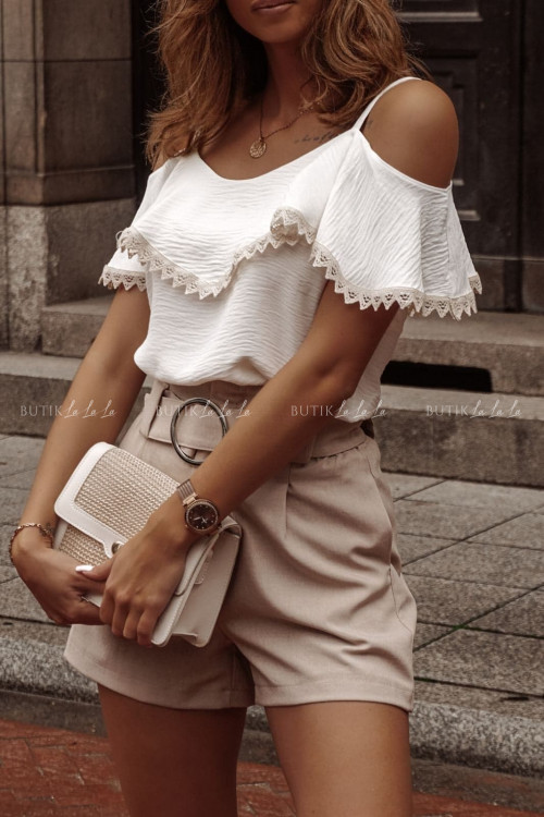 Bluzka hiszpanka na ramiączka z falbaną na biuście biała Olli