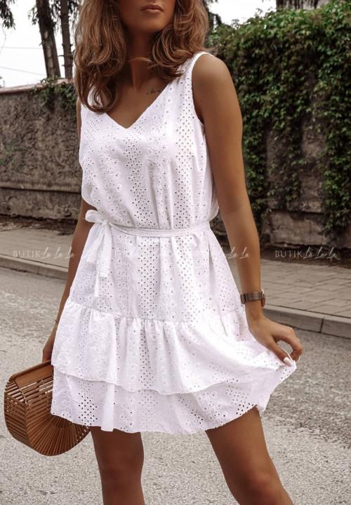 Sukienka Biała ażurowa na grubych ramiączkach Millu