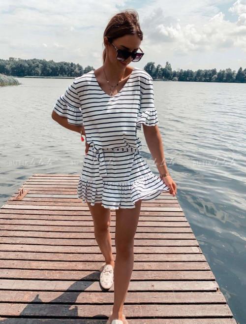 sukienka letnia mini w paski z falbankami biała Lima