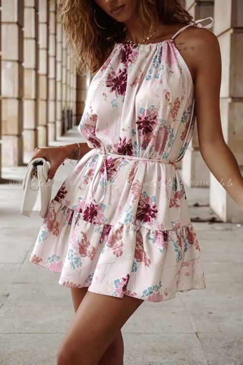 Sukienka letnia mini w kolorowe kwiatki Lorenzo