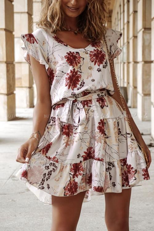 sukienka letnia mini w kwiatki z guziczkami na dekolcie Tiana