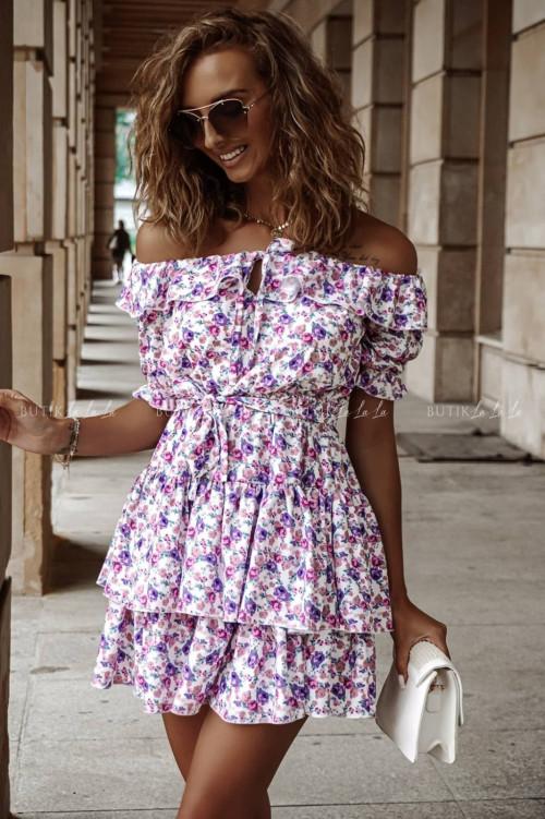 Sukienka letnia hiszpanka mini w kwiatowy print Zoe