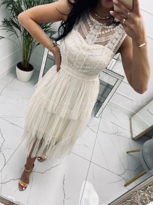 Sukienka z koronkową górą tiulowym dołem kremowa Tejli