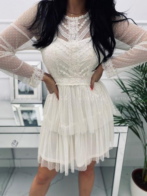 Sukienka mini z koronkową góra i tiulowym dołem kremowa Larra