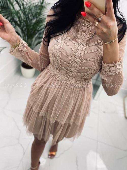 Sukienka mini z koronkową góra i tiulowym dołem pudrowa Larra