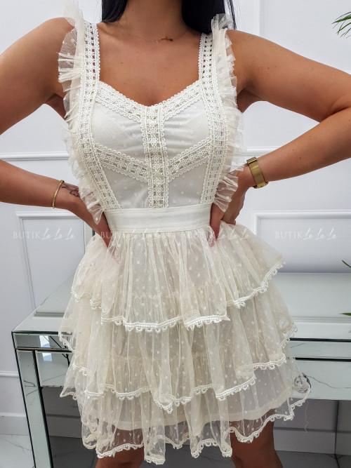 Sukienka mini koronkowa z tiulowymi falbankami i guziczkami kremowa Sycylia