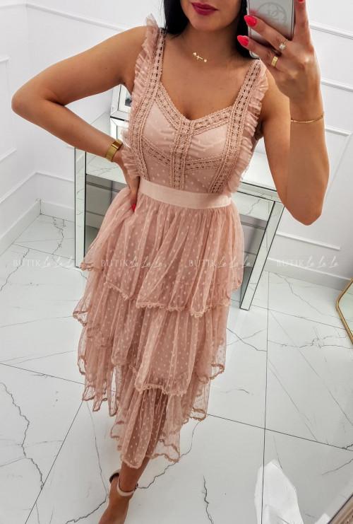 Sukienka midi koronkowa z tiulowymi falbankami i guziczkami pudrowa Sycylia