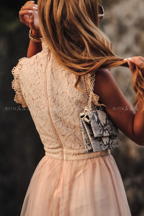 Sukienka z koronkową górą i tiulowym dołem midi nude Tiffi