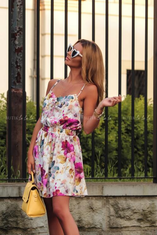 Sukienka letnia mini biała w kwiatowy print Isa