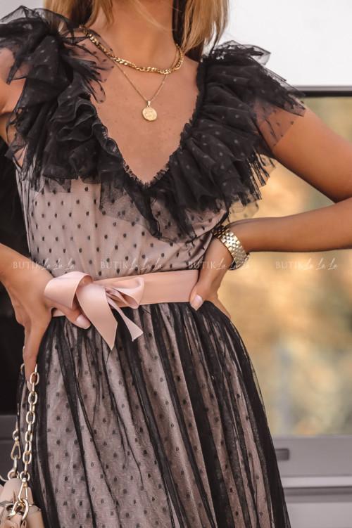 sukienka MIDI tiulowa czarno beżowa Belisso
