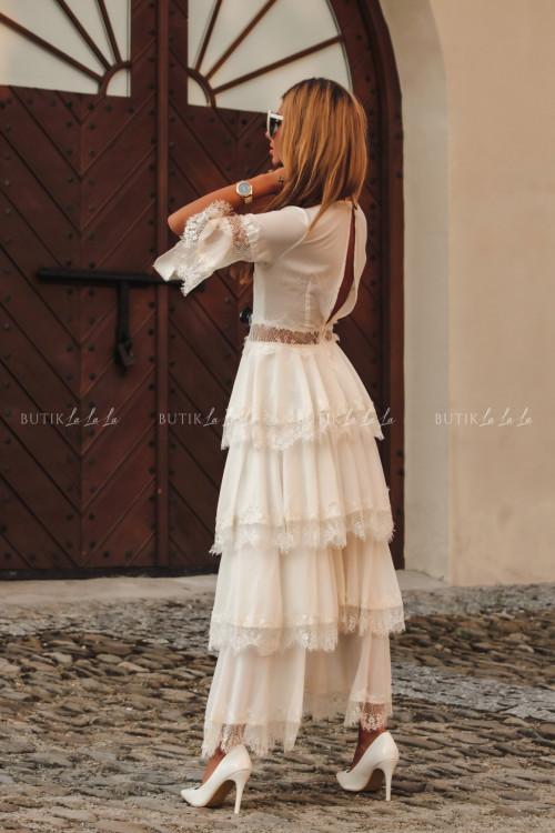 Sukienka kremowa boho Princesska