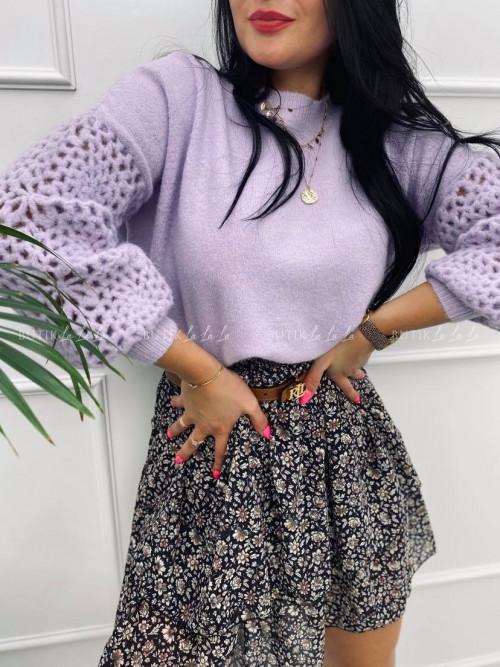 Sweterek ażurowy fioletowy Kesi