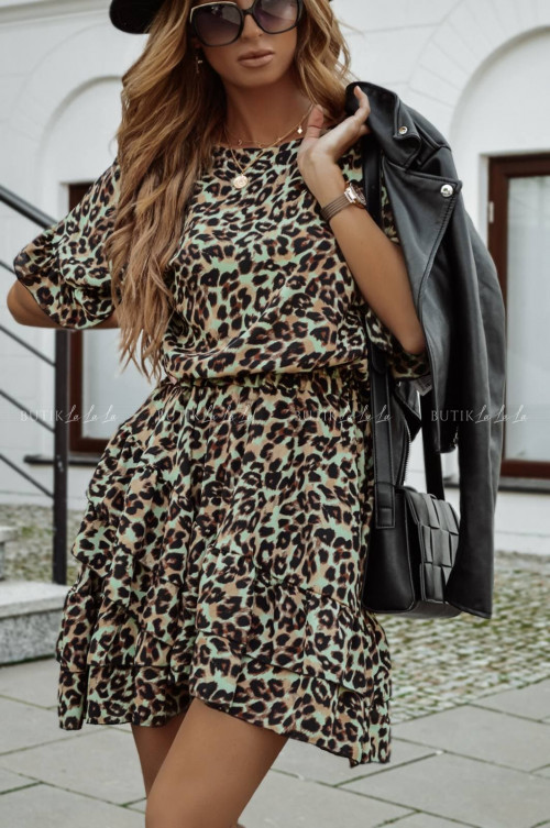 sukienka khaki w panterkowy wzór z falbanką Monaco