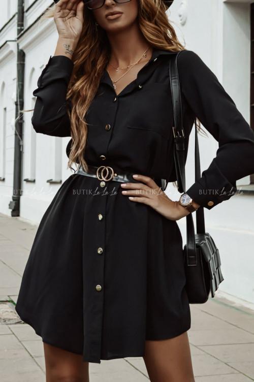 sukienka koszulowa czarna z paskiem Walinda