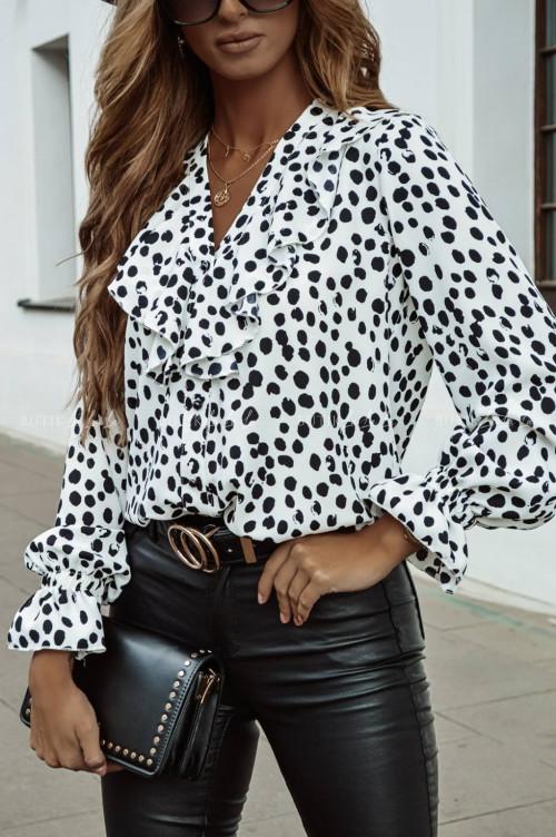 bluzka koszulowa biała w czarny print z falbanką Juliana