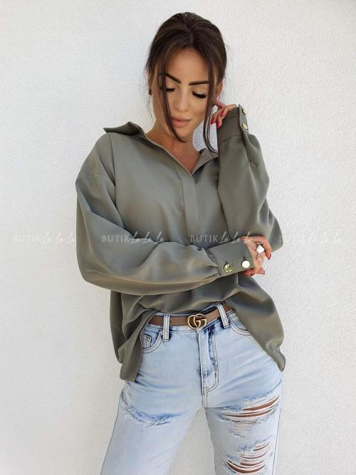 bluzka koszulowa oversize khaki z guzikami Fiona