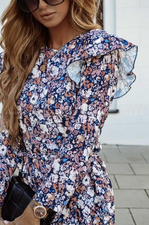 sukienka w kwiatowy print z falbankami Osla