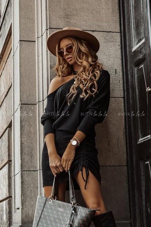 sukienka z hokerem czarna Sinda