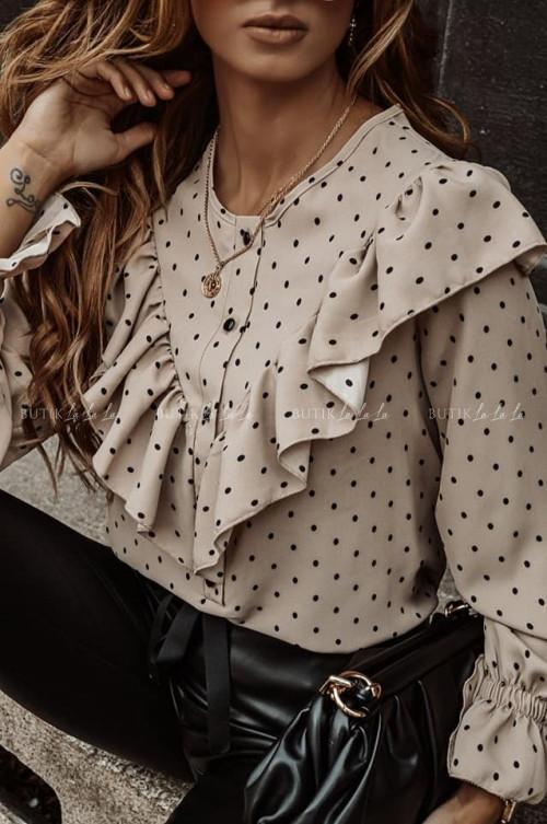bluzka koszulowa brązowa z groszki Simba