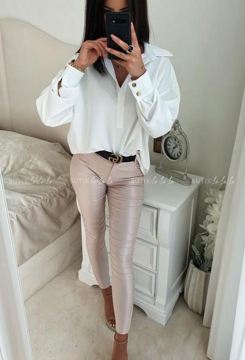 bluzka koszulowa oversize biała z guzikami Fiona