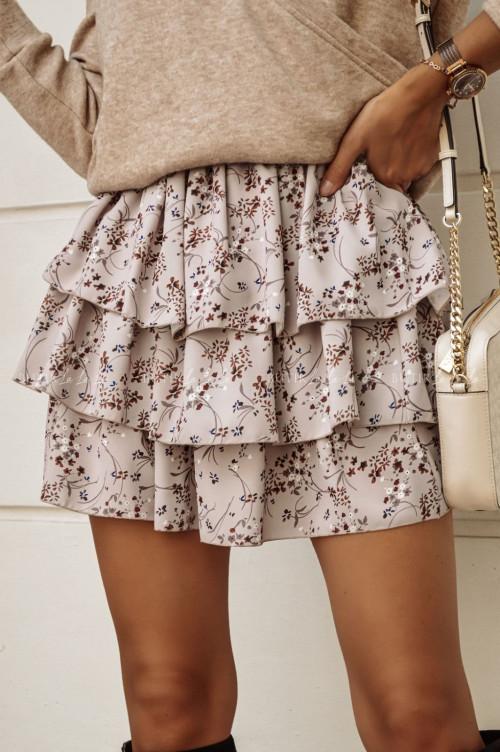 spódniczka w kwiatowy print beżowa Trin