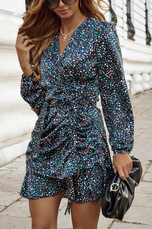sukienka z marszczeniem i paskiem wielokolorowa Sintia