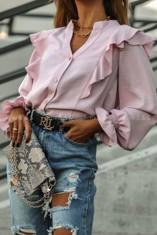 bluzka koszulowa z falbanką nude róż Simple