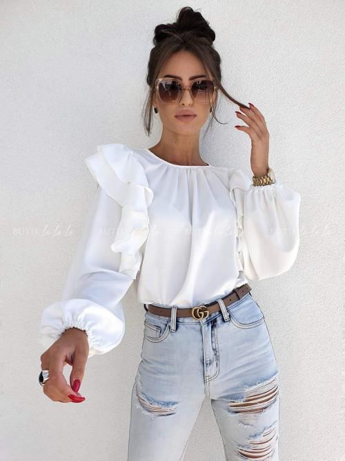 bluzka z falbanką kremowa Chic