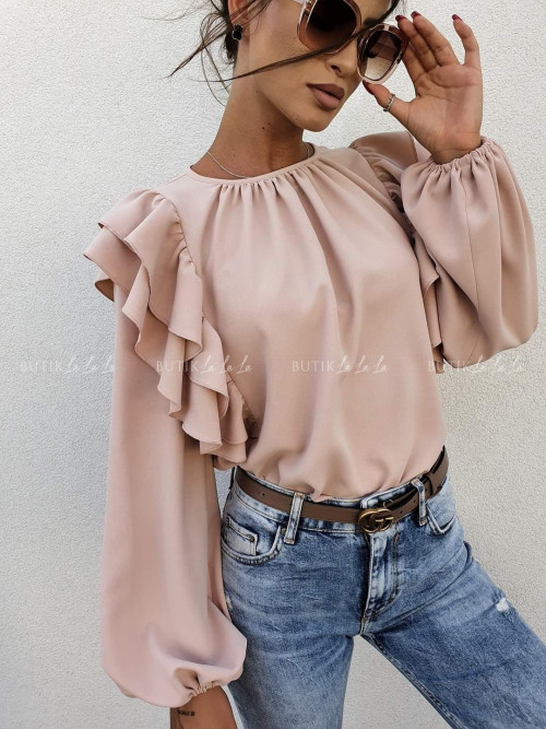 bluzka z falbanką beżowa Chic