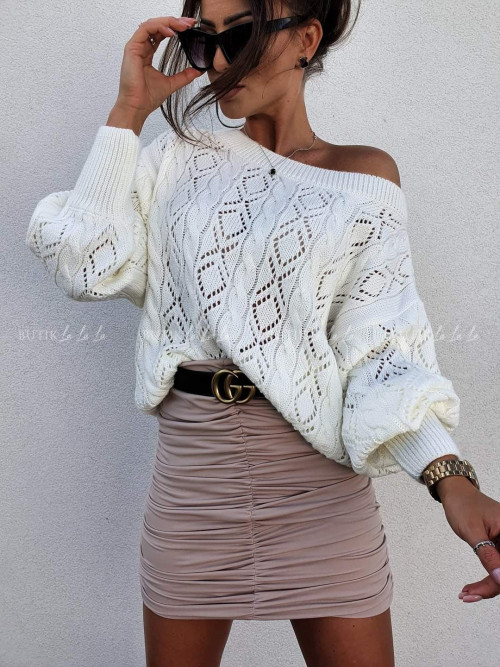 sweter ażurowy kremowy Salines