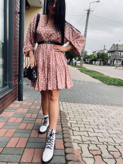 sukienka w groszki oversize różowa Andie