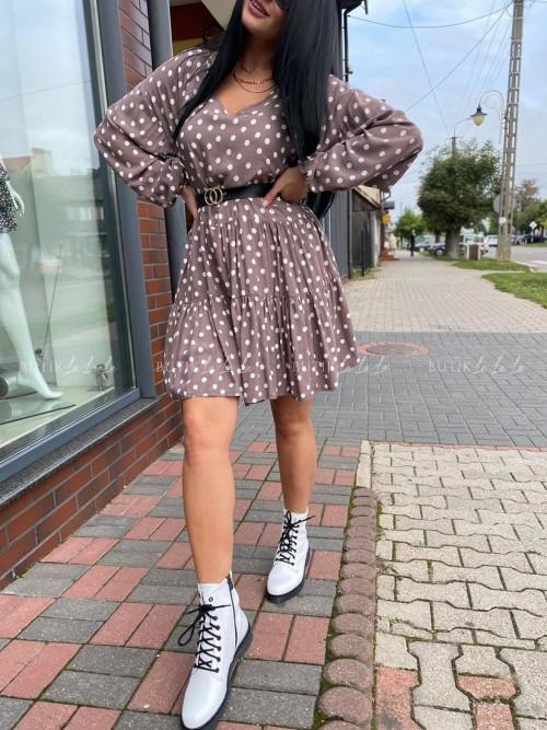 sukienka w groszki oversize czekoladowa Andie