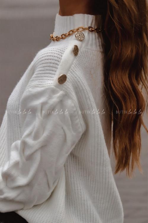 sweterek z ozdobnymi guzikami kremowy Swit