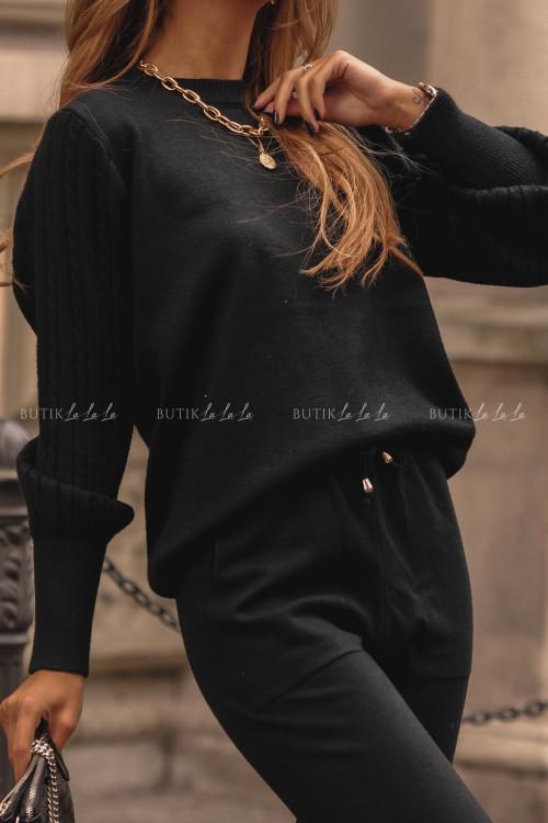 komplet sweterkowy czarny Glamo