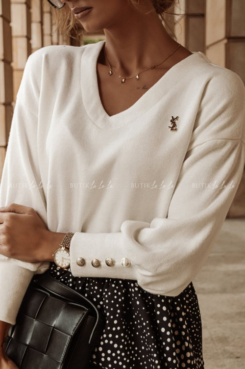 bluzka sweterkowa z ozdobnymi guzikami kremowa Grusti