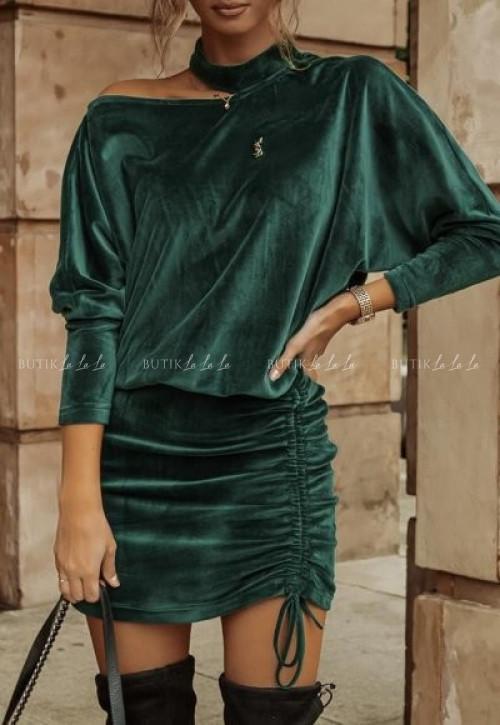 sukienka welurowa z hokerem zielona Chindler