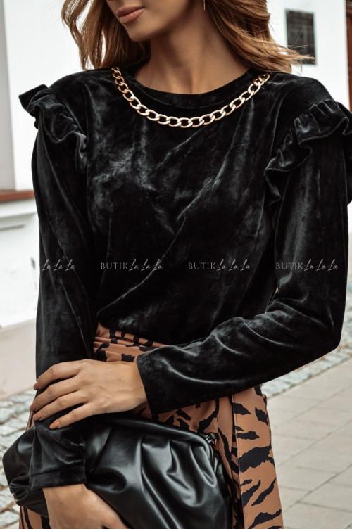 bluzka welurowa z łańcuszkiem czarna Rita
