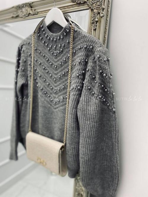 sweter z perełkami szary Divist