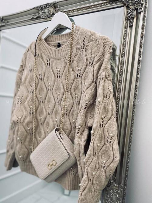 sweter z perełkami beżowy Work