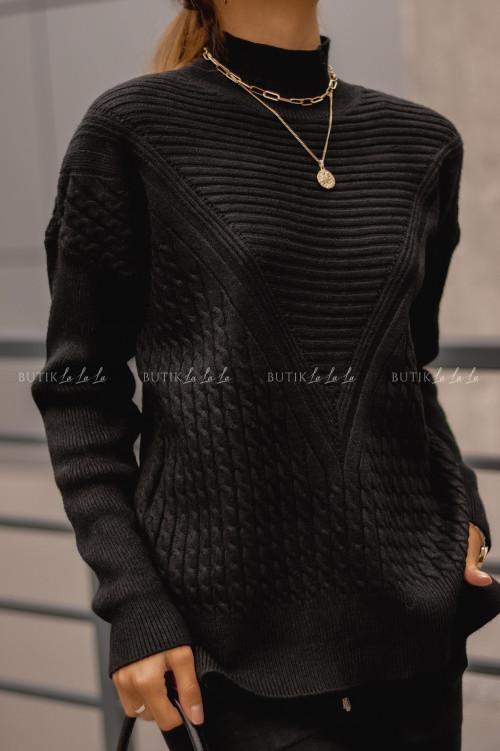 komplet sweterowy czarny Riko