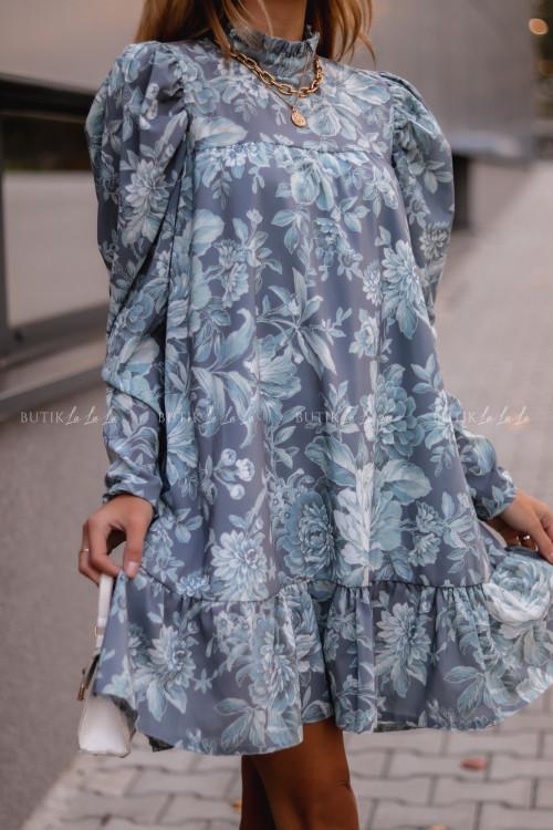 sukienka w kwiatowy print szara Taften