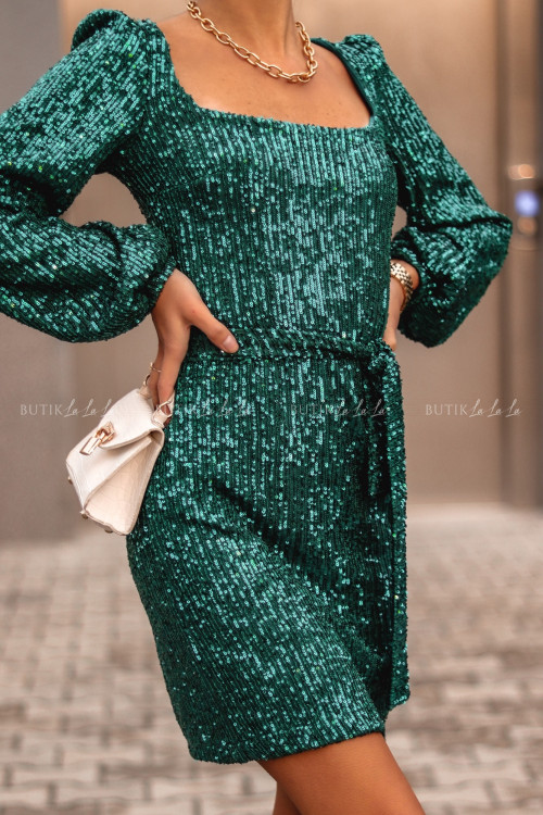 Sukienka Zielona Cekinowa z długim rękawem Larissa