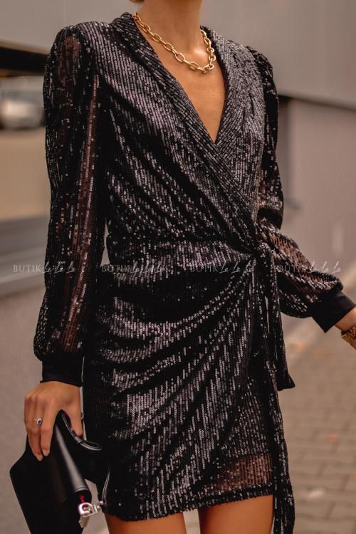 Sukienka Czarna cekinowa wiązana