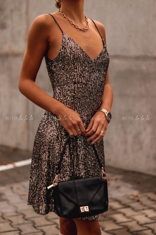 Sukienka Złota cekinowa na ramiączka Lilly